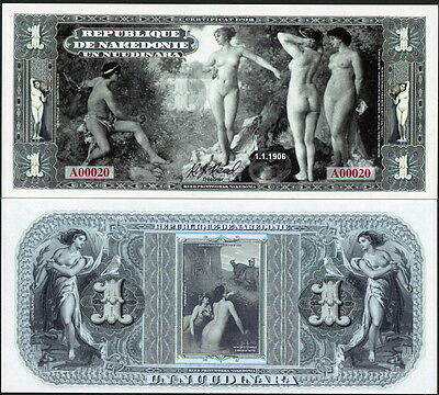 Republique De Nakedonie 1 Nuudinara Bare Naked Nude Ladies Fantasy Art Note!