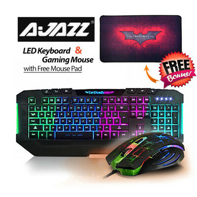 Ajazz Dark Knight 7 Backlight LED Keyboard and 7 LED Colors 2400DPI 6 Button USB