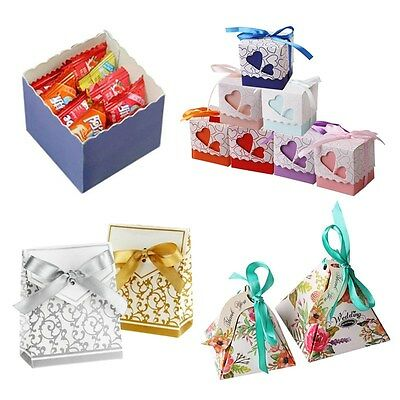 1-100Pcs Luxury Wedding Party Favors Sweets Candy Boxes Baby Shower Gift Bags