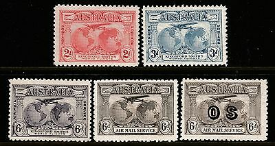 "1931 CHARLES KINGSFORD SMITH PRE-DECIMAL STAMP SET INC. 6d AIRMAIL & ""OS"" - MLH"