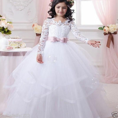 Communion Kids Party Princess Pageant Bridesmaid Wedding Flower Girl Dress