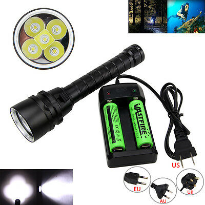 15000LM Underwater 100m 5X T6 LED Diving Flashlight Torch Scuba Waterproof 18650