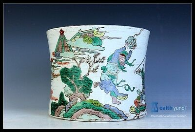 Orient Chinese Five Color  Porcelain Character Story Brush Pot