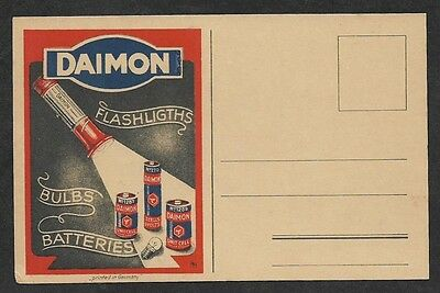 India 1940s color advert postcard for German DAIMON Torch Bulbs and Batteries