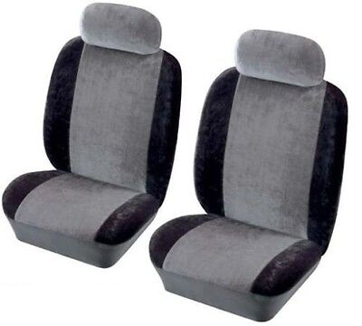 HERITAGE Soft Velour Universal Front Car Seat Covers Protectors in GREY & BLACK