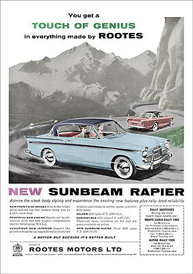 Sunbeam Rapier Coupe Retro A3 Poster Print From 60's Advert