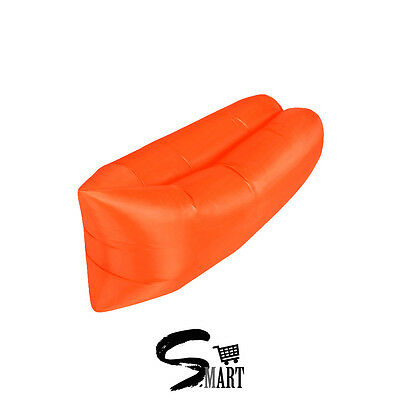 *LAZY COUCH* Inflatable Blow Up w/ Breeze Sun Lounger Backpack Cover ORANGE