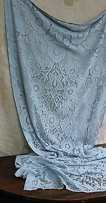 French Blue Lace Panel Fabric Window Curtain Valance Pelmet Shabby Tattered Torn