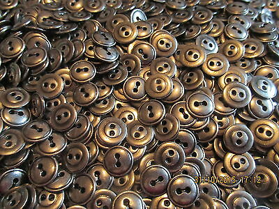 20 Pcs 12mm Round Silver Coloured Metal 2 Hole Buttons Sewing Knitting Craft