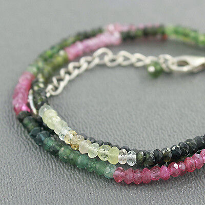 """Natural Tourmaline Stone 925 Sterling Silver 3mm Beads Necklace Adjust Size 18"""""""