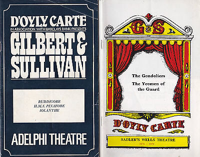 2-D'oyly Carte G & S Programme London Sadlers Wells Th. 1979 & Adelphi Th.19811