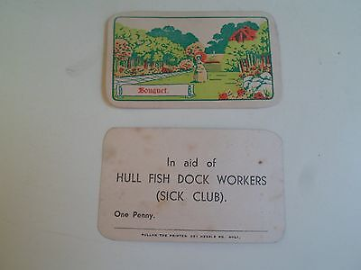 2 Vintage Advertising Cards In Aid of Hull Fish Dock Workers (Sick Club)