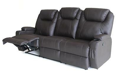 3 Seater Bonded Leather Sofa Couch  Manuel Recline Chair Home Theater Defect
