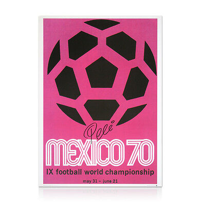 1970 Mexico World Cup Poster - Signed by Pele Autograph