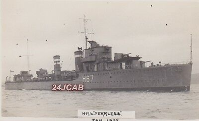 "Royal Navy Real Photo RPPC. HMS ""Fearless"" Destroyer. Scuttled in WW11.  1935"