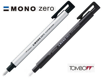 Tombow MONO Zero Round Eraser 2.3mm Diameter : Choice of Black or Silver barrel