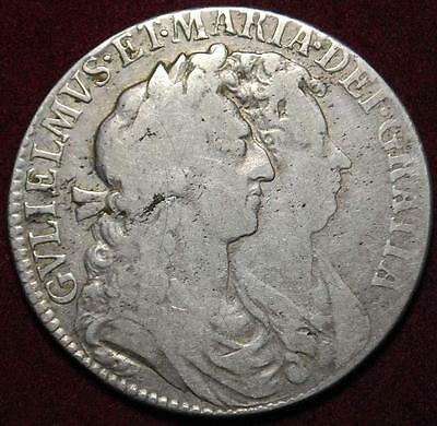 William & Mary silver halfcrown 1689 PRIMO first shield - very nice!!!