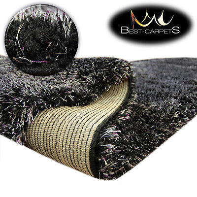 FLUFFY CHEAP SOFT CARPETS SHAGGY 'NARIN BLACK CREAM' HIGH QUALITY nice in touch