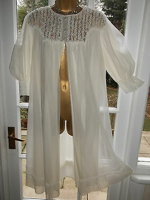 """Vintage 60s Double Layered Nylon Frilly Lacy Babydoll Peignoir Nightie Robe 36"""""""