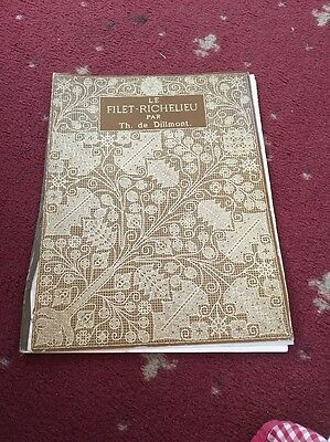 Antique Rare Vintage French Lace Making Pattern Book LE FILET-RICHELIEU PAR