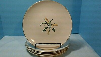 "Set Of 6  Knowles Forsythia 10-1/4"" Dinner Plate Yellow Flowers"