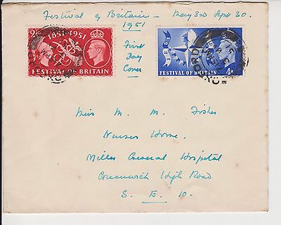 Gb Fdc First Day Cover 1951 Festival Of Britain Stamps Kgvi See Scans