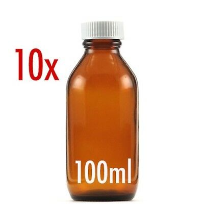 10 X 100ml AMBER GLASS BOTTLES WITH CAPS