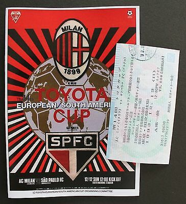 1993 Toyota Cup Replica Programme & Ticket Sao Paulo V Ac Milan