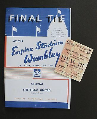 1936 FA Cup Final Arsenal Vs Sheffield United Programme Ticket