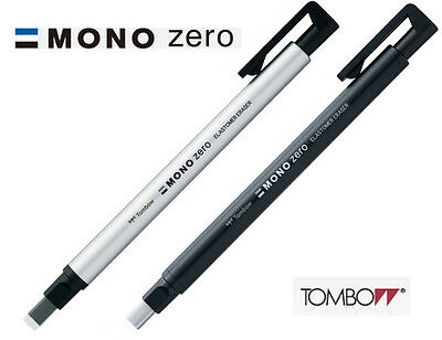 Tombow MONO Zero Rectangular Eraser 2.5 x 5mm : Choice of Black or Silver barrel