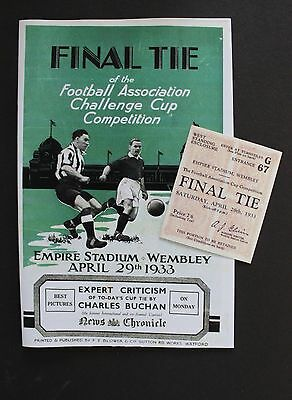 1933 FA Cup Final Everton Vs Manchester City Programme Ticket