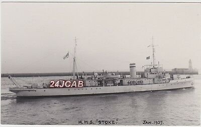 "Royal Navy Real Photo RPPC. HMS ""Stoke"" (J 33). Minesweeper. Sunk in WW11. 1937"