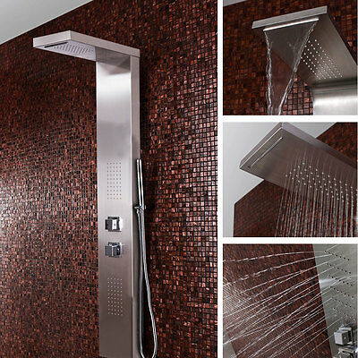 Stainless Waterfall Steel Shower Panel Thermostatic Tower Bathroom Column  SPL02