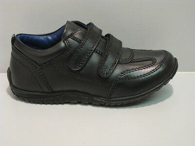 New Boys Black Leather Twin Velcro Sporty Shoes size UK 12