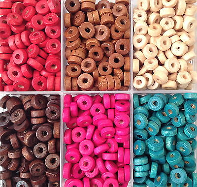 500 ROUND FLAT SHAPE WOODEN BEADS  8mm   6 COLOURS
