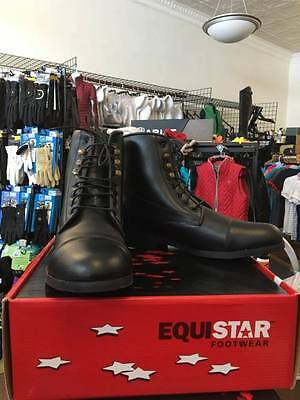 Equi-Star Ladies Black Lace Up All Weather Paddock Boots Size 10