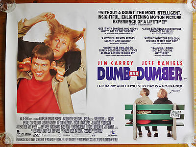 Vintage original Dumb And Dumber quad film cinema poster rolled 1994 Jim Carrey