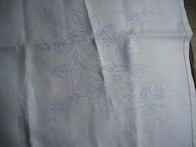 Vintage Transfer Printed Tablecloth To Embroider  Flowers  Design