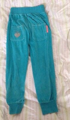 Sugar Pink Girl's Turquoise Velour Joggers Age 5-6 Years