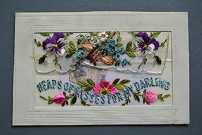 R&L Postcard: WW1 Period Embroidered Silk, Heaps of Kisses for My Darling & Card