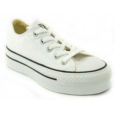 Converse All Star CT Platform OX White Scarpe Donna Bianche Tela 540265c