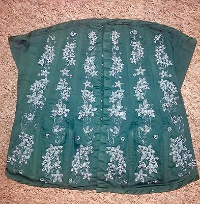 Ladies bustier corset lingerie size 10-12 Green Lace-up Boned Immaculate Cond