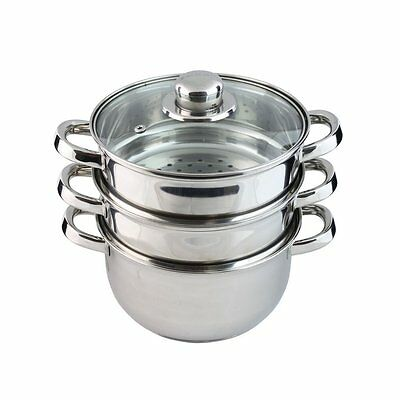 3 Tier Food Steamer Cooker Pot Set Healthy Cooking Stainless Steel Induction Hob