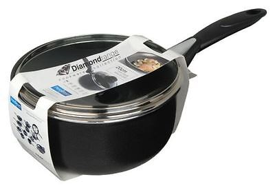 Pendeford Diamond Non Stick Induction Soft Grip Saucepan Black With Lid 16cm