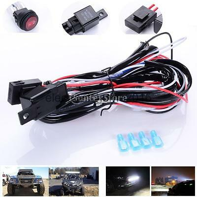 Car Led Work Light Bar Wiring Loom Harness Kit Fuse Relay Switch 12V 40A