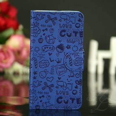 Samsung Galaxy S4 Flip Case Hülle Design Klapp Book Etui Comic Cover Blau