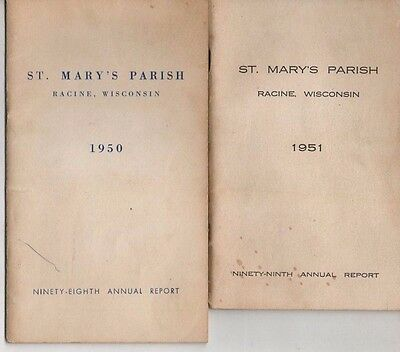 Vintage St. Mary's Parish Annual Reports Racine, WI 1950 & 1951