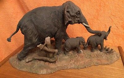 Very Rare Huge Country Artists Family of Elephants a Mother & Her Two Calves