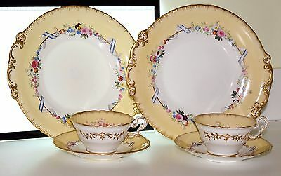 6 P COPELAND & GARRET 6297 CHINA CUP SAUCER & PLATES C1839 RIBBON & FLOWERS Lot