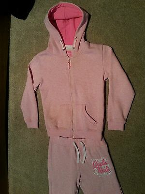 Girls pink warm hooded tracksuit age 8/9 years